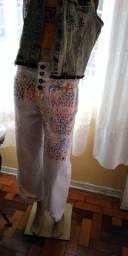 Calça jeans com botões na frente tamanho 40