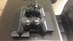 TROCO PS2 - 2 CONTROLES E MEMORIAS TUDO OK