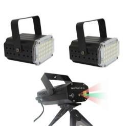 Kit Iluminação Festa Balada 1 Mini Laser, 2 Strobo Sensor Rítmico