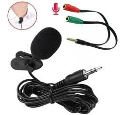 Microfone De Lapela Knup Stereo Com Espuma p2 e para I Phone (Leia) + Adaptador