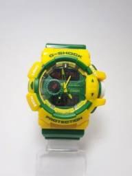 Relógio G shock Digital e Analógico Verde e Amarelo Cor de Brasil  Barato Pr0m0çã0