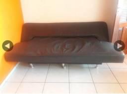 Sofa cama em couro