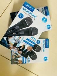 Microfone Com Fio Duplo Dinamico Knup Kp-m0015