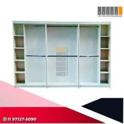 Monte sua loja ou closet: estante cabideiro duplo com nichos 100% mdf