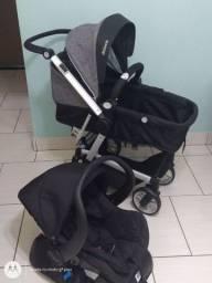 Carrinho Dzieco com bebê conforto e base para carro
