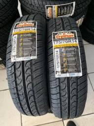 Título do anúncio: Par de pneus 175/70/14 Crystone (certificado inmetro, garantia, borracha vipal)