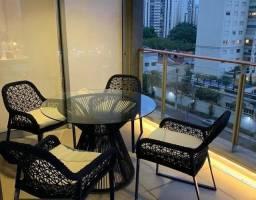 Conjunto mesa e cadeiras alumínio revestida em corda nautica
