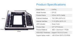 Caddy Adaptador 9,5 mm e 12,7 mm para SSD