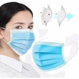Mascara Descartável Cirúrgica Clip Nasal Filtro Tripla 50un