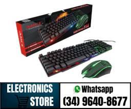 Kit Teclado Semi Mecânico  + Mouse Gamer Led Rgb (Fazemos Entregas)