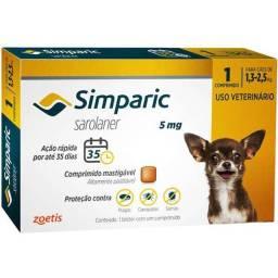 ntipulgas Zoetis Simparic 5 mg para Cães 1,3 a 2,5 Kg -67,00