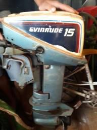 Vendo motor de popa evenrudi 15hp valor negociável - 1988