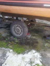 Carreta  semi rodoviária toda em inox para lancha ou bote até 18 pés