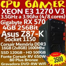 CPu GaMeR RX 570, Xeon 1270, 16GB, 650W, Corsair
