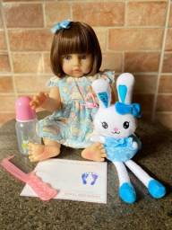 Bebê Reborn toda em Silicone olhos azuis Nova Original Fotos Reais (aceito cartão