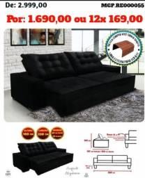 Sofa Grande- Sofa Retratil e Reclinavel 2,50 em Veludo e Molas-Sofa Barato