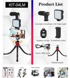 Kit para filmagem tripé flexível microfone iluminação e controle Bluetooth