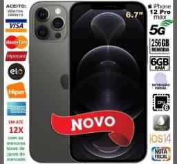 "iPhone 12 Pro Max 256GB 6Core, 6GB Ram, Tela 6.7"", 3Câm 12MP, Novo, Cx, NF, Gar, Troco"