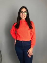 Título do anúncio: Blusa Tricot Laranja Neon Nova