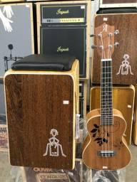 Kit Cajon elétrico + ukulele Concert novos