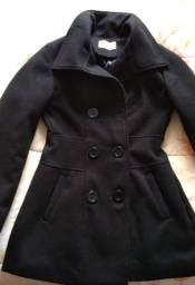 Casaco de lã, preto, tamanho P