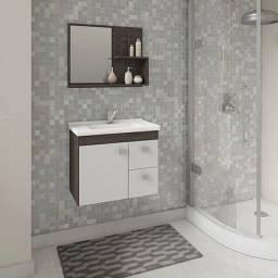 Título do anúncio: Gabinete Banheiro Hortência com Pia 1 Porta e 2 Gavetas e Espelheira MGM Móveis