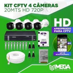 Kit CFTV com 4 câmeras HD (1280x720)!! Intelbras!