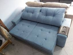 NOVO 5 lugares azul capri retrátil reclinavel entrego
