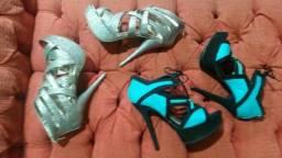 Sandálias de festa usadas uma vez