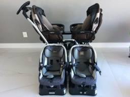 Carrinho de bebê para gêmeos Peg Perego Duette SW + 2 bebês conforto + 2 bases