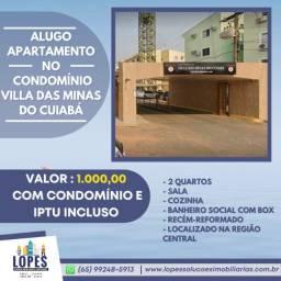 Título do anúncio: Alugo apartamento 2 quartos no condomínio Villa das Minas do Cuiabá
