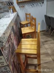 Kit banquetas de madeira maciça novas
