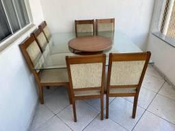Mesa de vidro blindex com 8 cadeiras