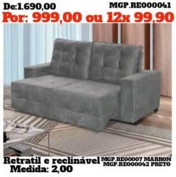 Sofa Retratil e Reclinavel 2,00- Sofa Lindissimo - Sofa Barato - Promoção Maringa