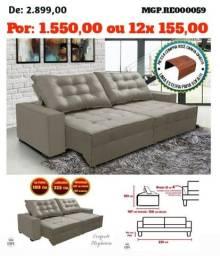 Sofa Retratil e Reclinavel 2,25 em Veludo e Molas- Sofa Grande-Sofa Barato-Saldão