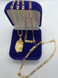 Corrente masculina banhada a ouro elos 3 por 1 pingente pulseira