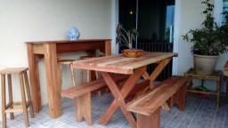 Saldão Mesa 2 metros de churrasqueira estilo rústico