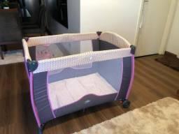 Berço Compacto Cercado Desmontável Portátil Baby Style Rosa