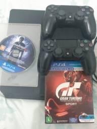 Ps4 Slim + controle profissional e 2 jogos