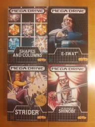 Lote 4 Caixas Mega Drive - Shinobi, E-Swat, Strider e Columns