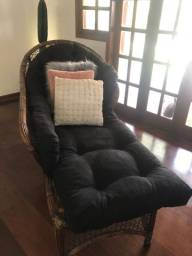 Chaise long,de vime com almofada fixa linda impecável !