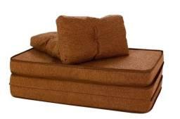 Puff Multiuso 3 em 1 com Travesseiro Casal Marrom Tecido e Courino 220