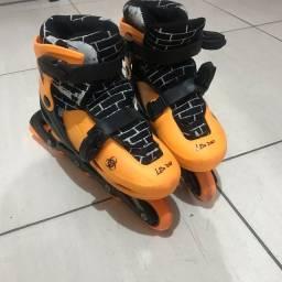 Patins Roller Infantil 4 Rodas Tri Line de menino Amarelo - Unik Toys