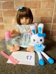 Bebê Reborn toda em Silicone realista Nova Original olhos azuis (aceito cartão )