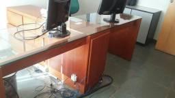 Mesa dupla madeira com vidro