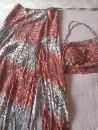 Conjunto de saia e croped