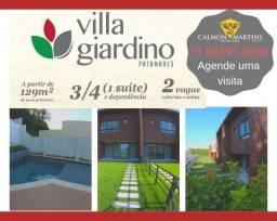 Villa Giardino, Casas com 3/4 com 1 suíte e dependência, 129m² + 2 vagas