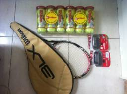 Raquete de Tênis Wilson Six One Team (Federer) + 18 Bolas Wilson Championship + 2 Cushion