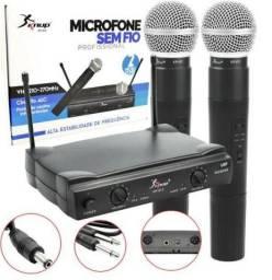 Kit 2 Microfones sem fio Wirelles 100mt KP-912