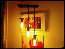 Luminária Pendente Rústica com Potes de Conserva
